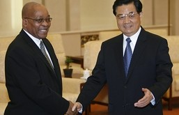 Jacob Zuma, President of the African National Congress, with Hu Jintao in Beijing last week (Reuters)