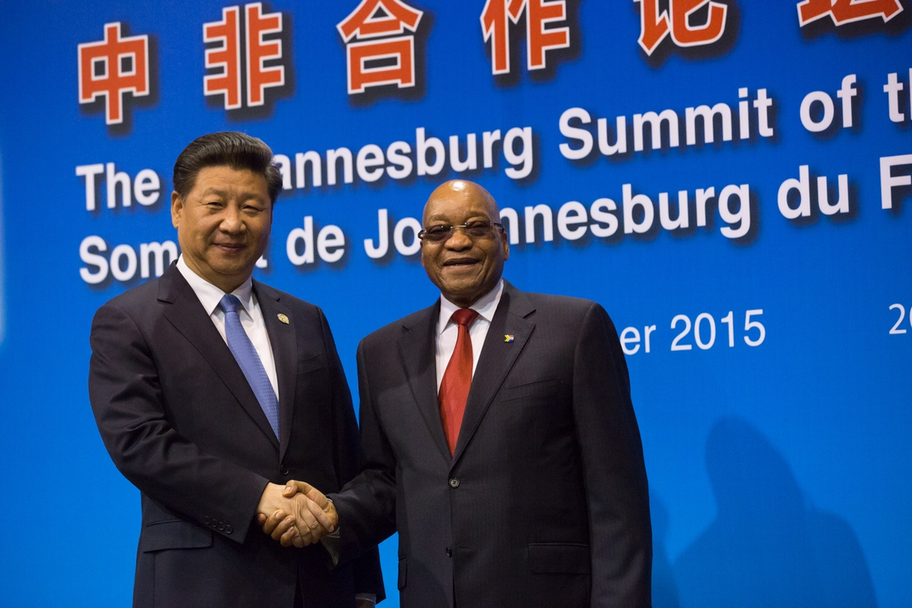 South African President H.E. Jacob Zuma welcoming Chinese President H.E. XI Jinping.