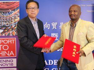 President of China Southern Africa Trade and Expo Chamber Wu Shaokang and LEDI's COO Thabo Nkhasi.