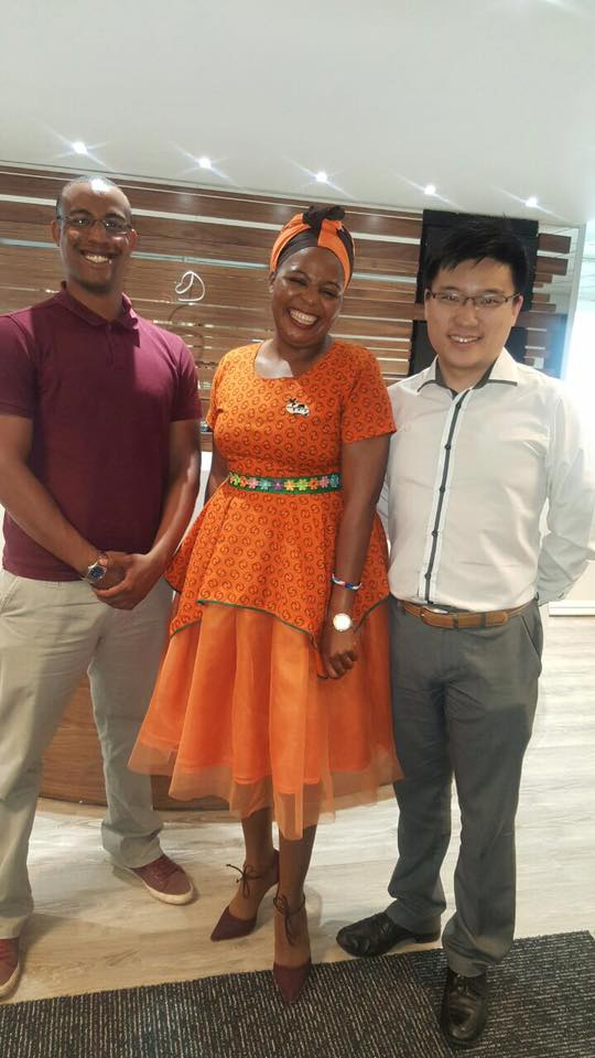 Vincent Dai and Clint Ferreira with BBC executive Sindiswa Mzamo.
